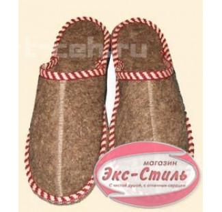 Тапочки войлок толстая подошва с вышивкой женские