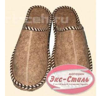 Тапочки войлок толстая подошва с вышивкой мужские